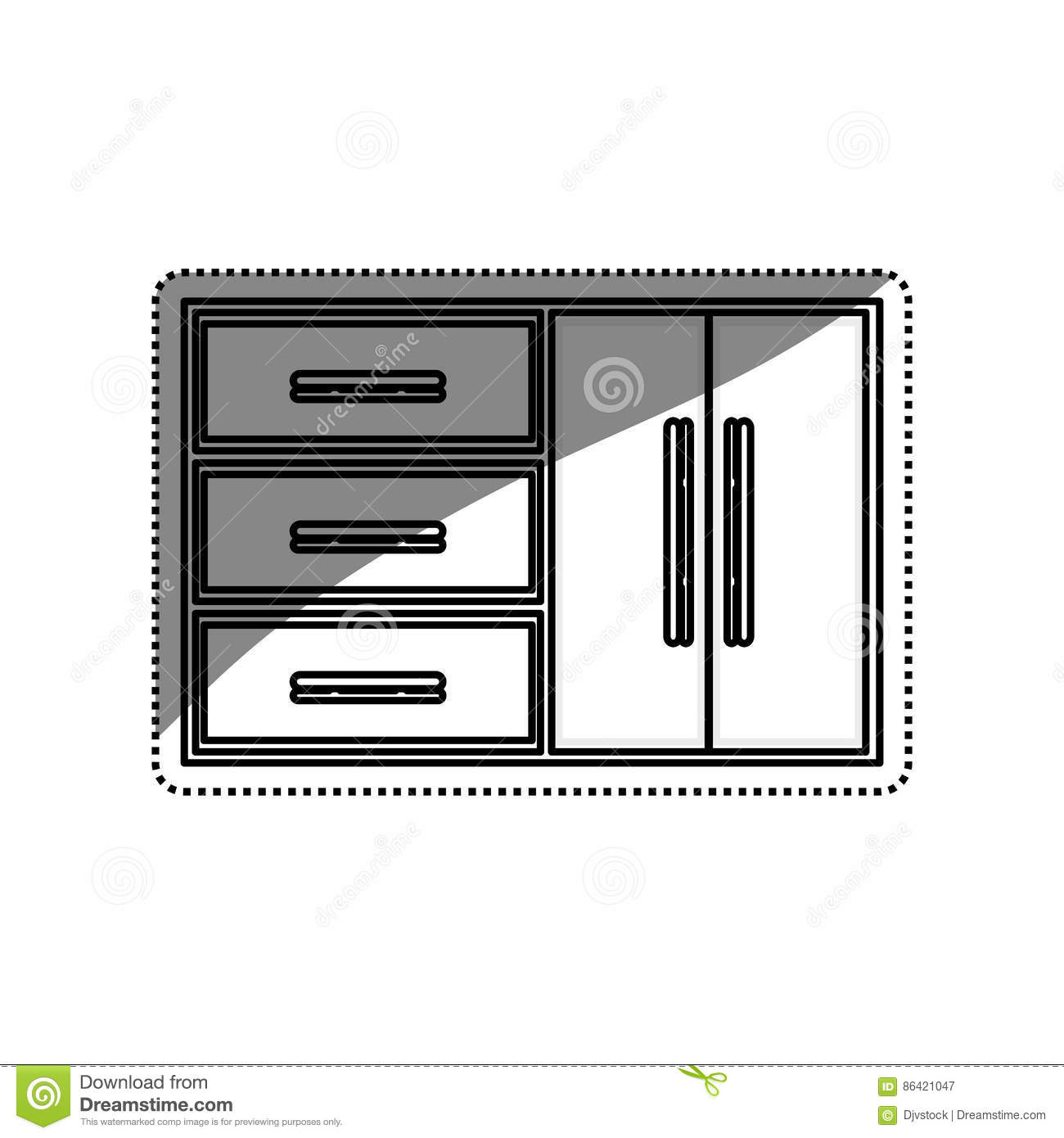 Kitchen Cabinet Design Stock Illustration. Image Of Tile
