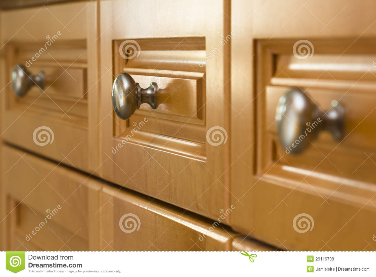 Kitchen Cabinet Drawers Selective Focus On Kitchen Cabinet Drawer