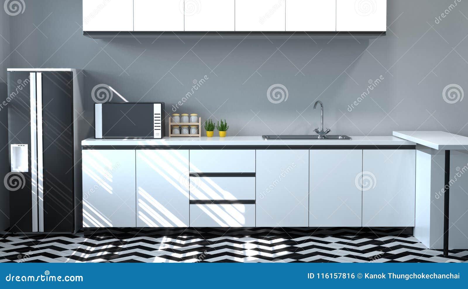 Kitchen Cabinet Interior Cooking White Table,modern Food Restaurant ...