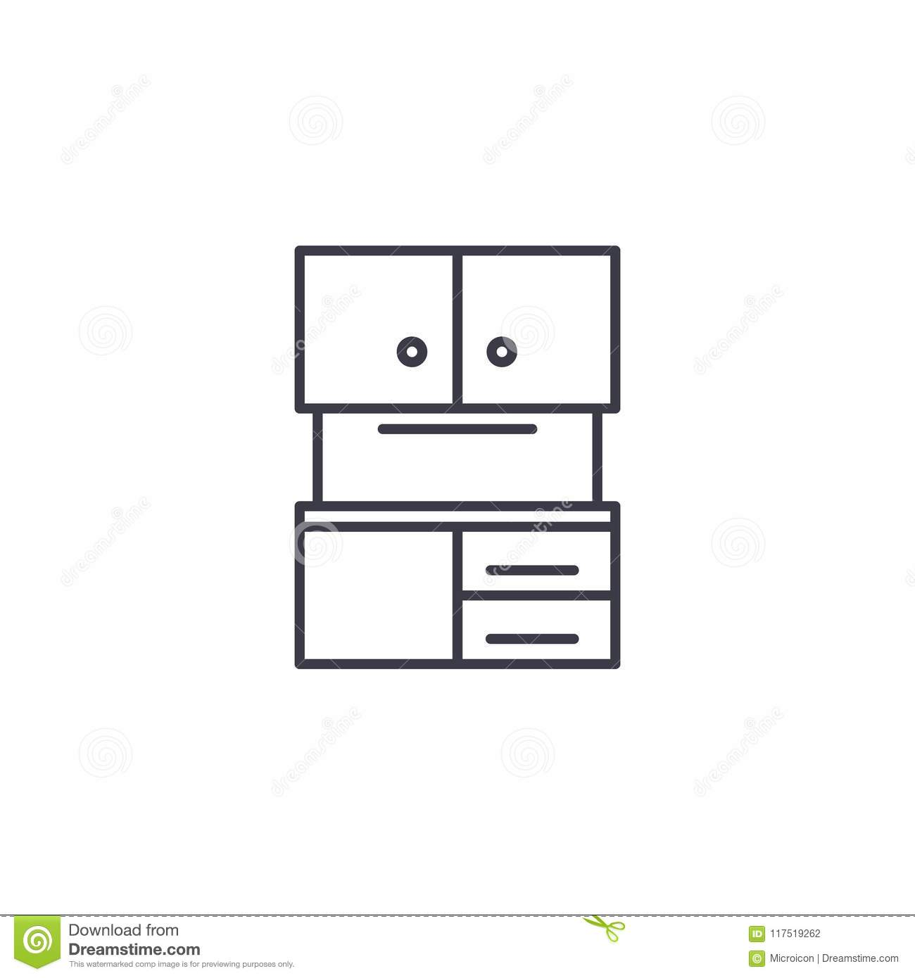 Kitchen Cabinet Linear Icon Concept. Kitchen Cabinet Line