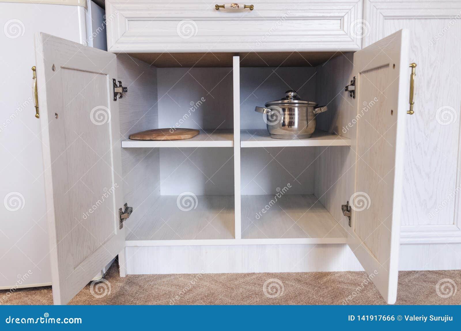 Kitchen Cabinet With Open Doors Stock Photo Image Of Corner Light 141917666