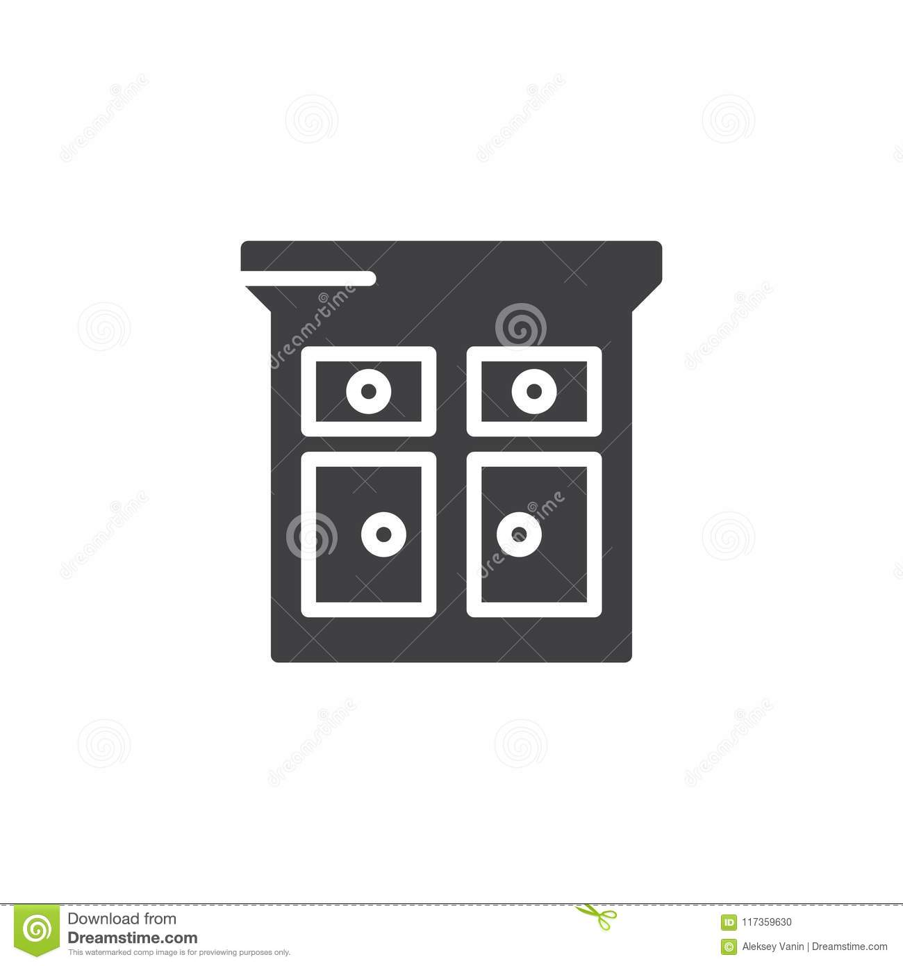 Kitchen Cabinet Vector Icon Stock Vector