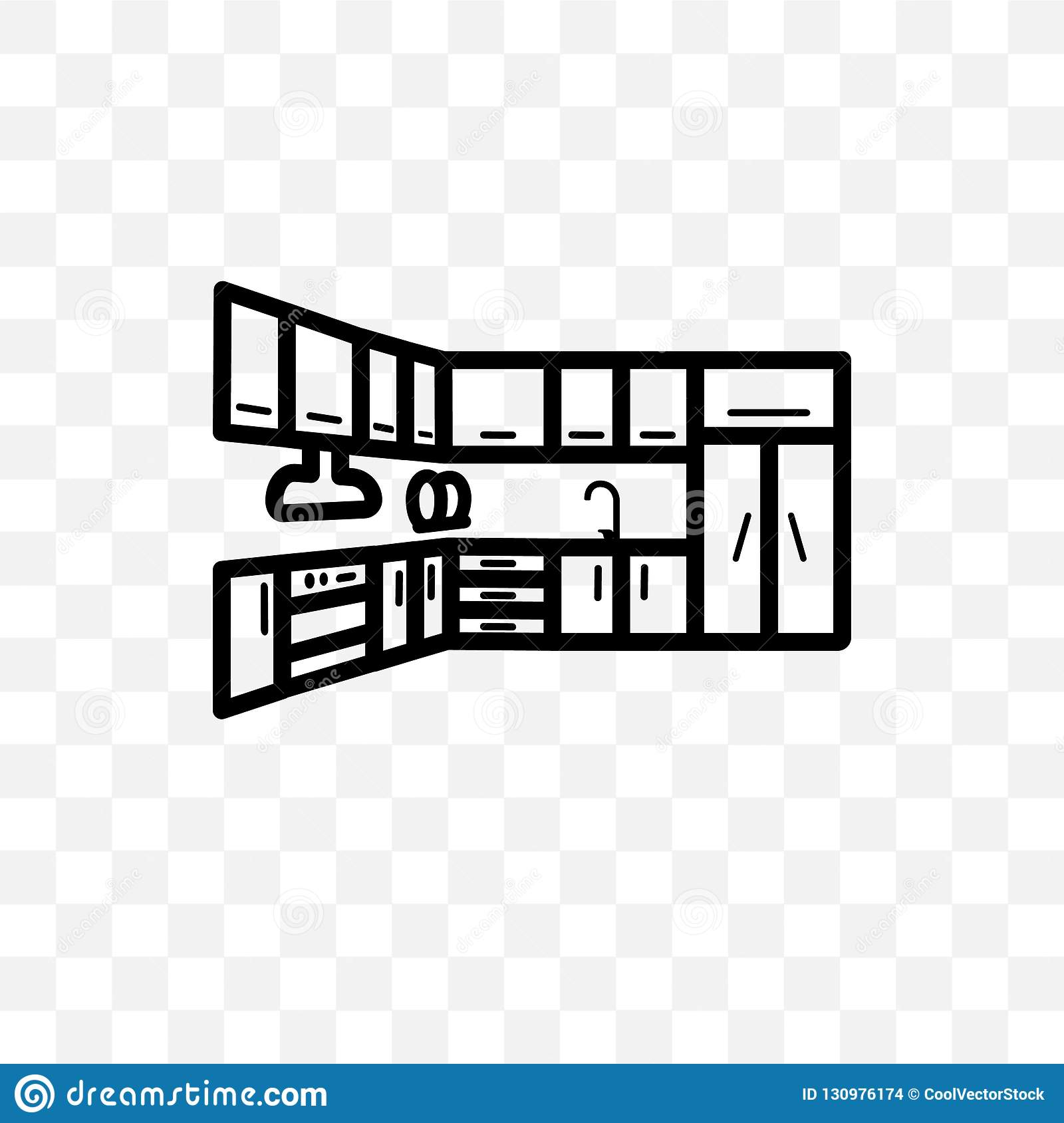 Kitchen Cabinet Vector Linear Icon Isolated On Transparent