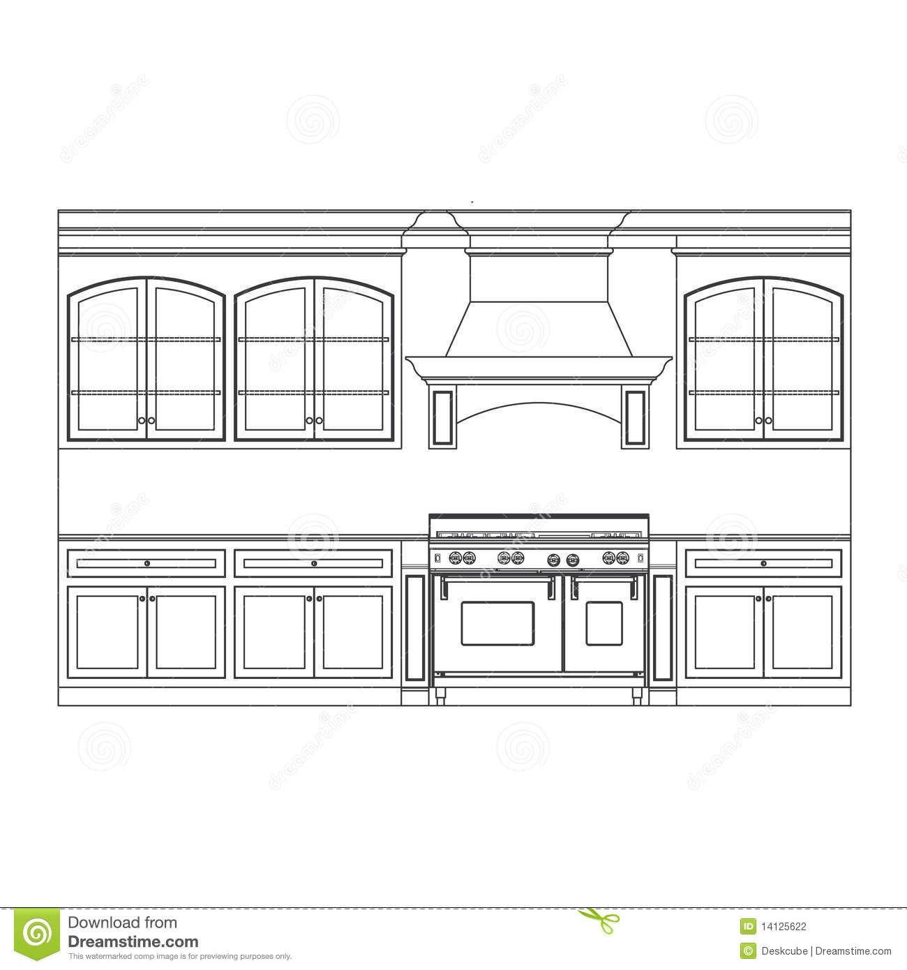 Kitchen cabinet elevation line drawings  sc 1 st  Dreamstime.com : line kitchen cabinets - Cheerinfomania.Com