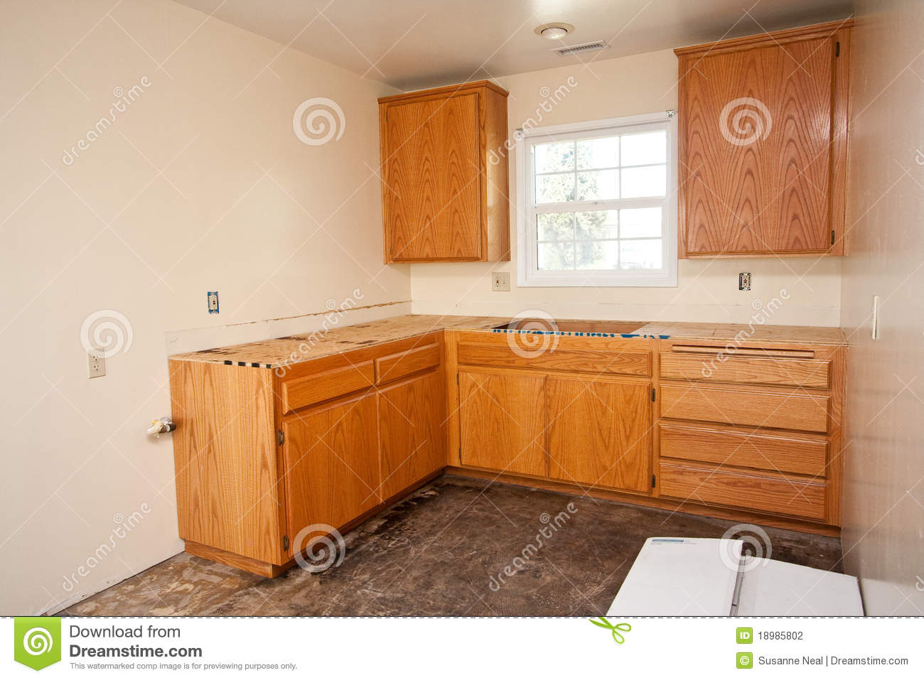 Countertop Kitchen Cabinet : Oak kitchen cabinets without countertop. Kitchen is being remodeled ...