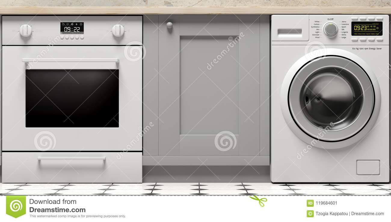 Kitchen Cabinets, Electric Oven And Clothes Washer On Tiled Floor