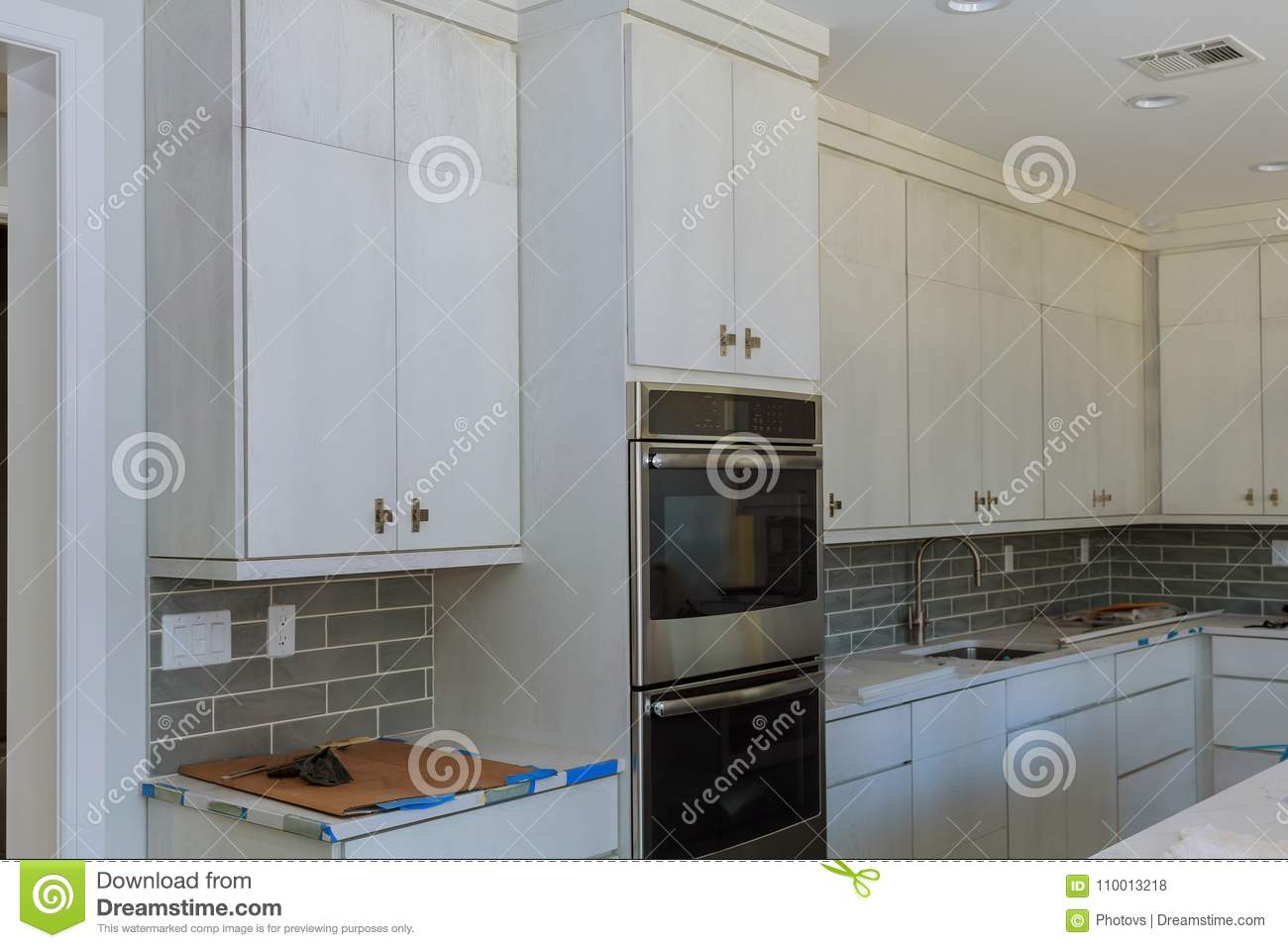 Kitchen Cabinets Installation Island Drawers And Counter ...