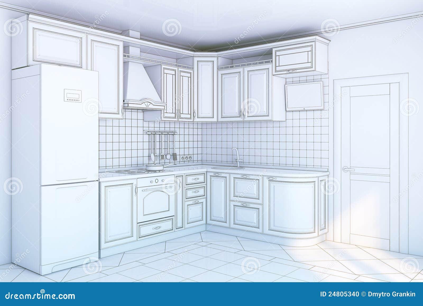 Kitchen Cabinets In Interior Stock Illustration