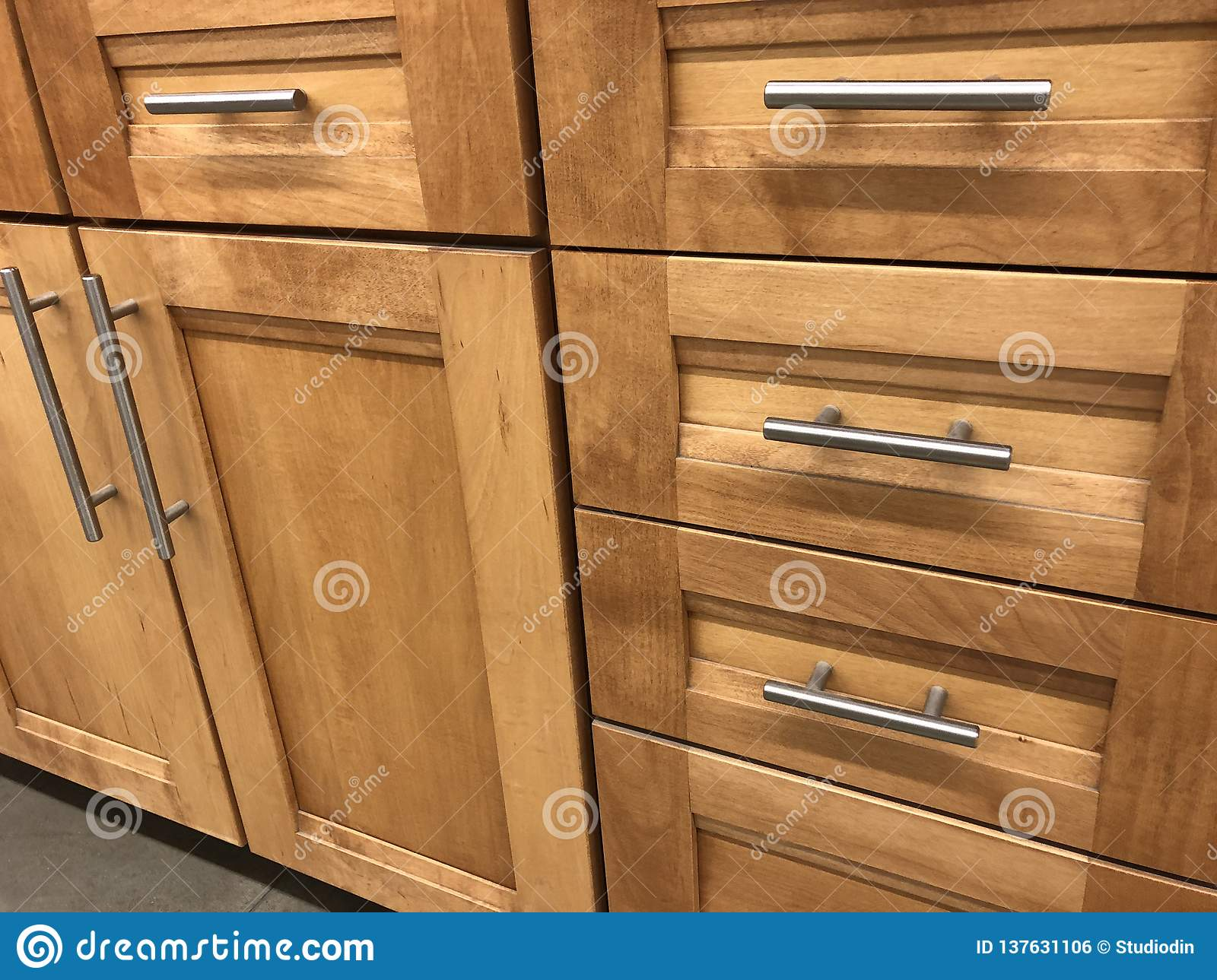 Kitchen Cabinets Made Of Natural Wood Maple With Chrome Handles Stock Photo Image Of Building Architecture 137631106