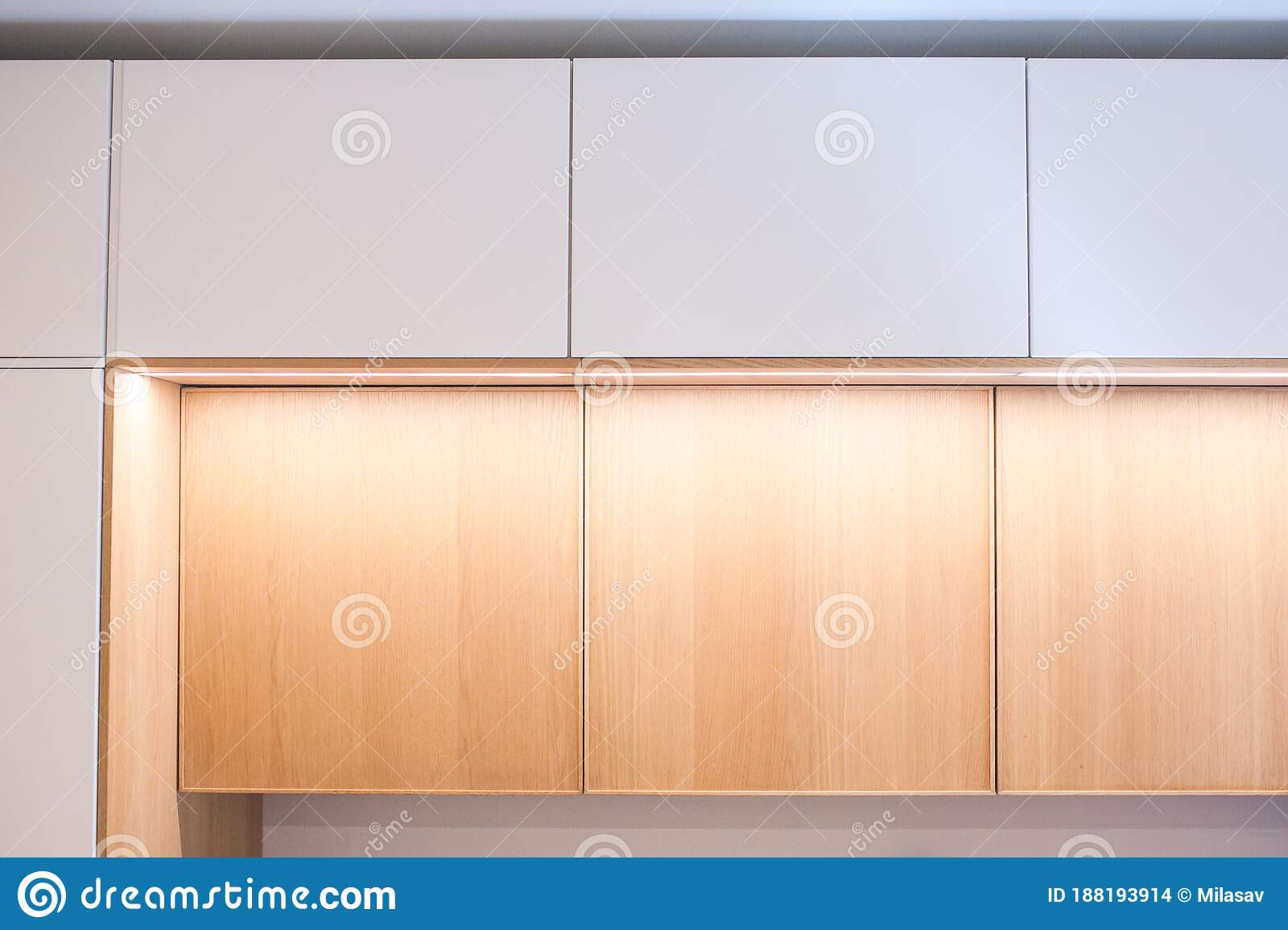Kitchen Cabinets Shelves With Lighting Doors Oak Veneer And White Close Up Stock Photo Image Of Decor Home 188193914
