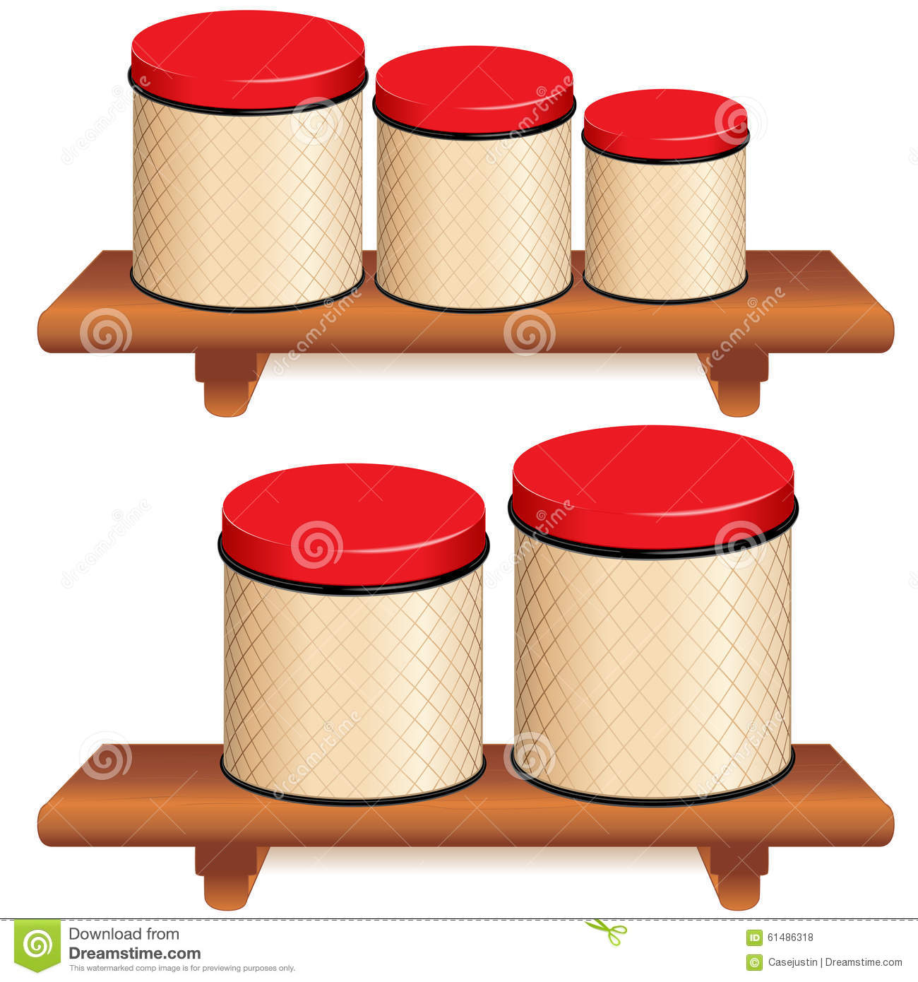 Large Kitchen Canisters Kitchen Canister Set On Wood Shelves Stock Vector Image