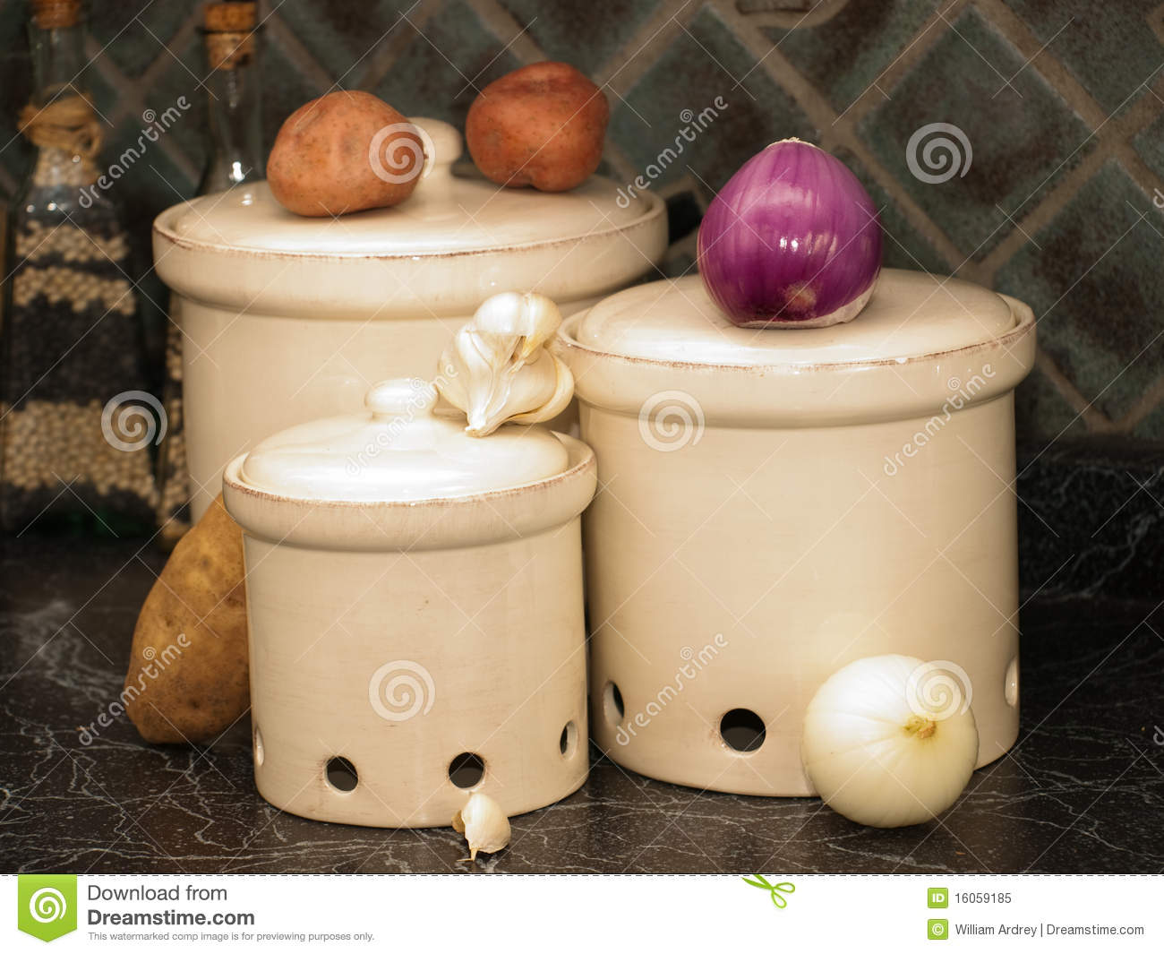Kitchen Canisters For Potatoes Onions And Garlic Stock
