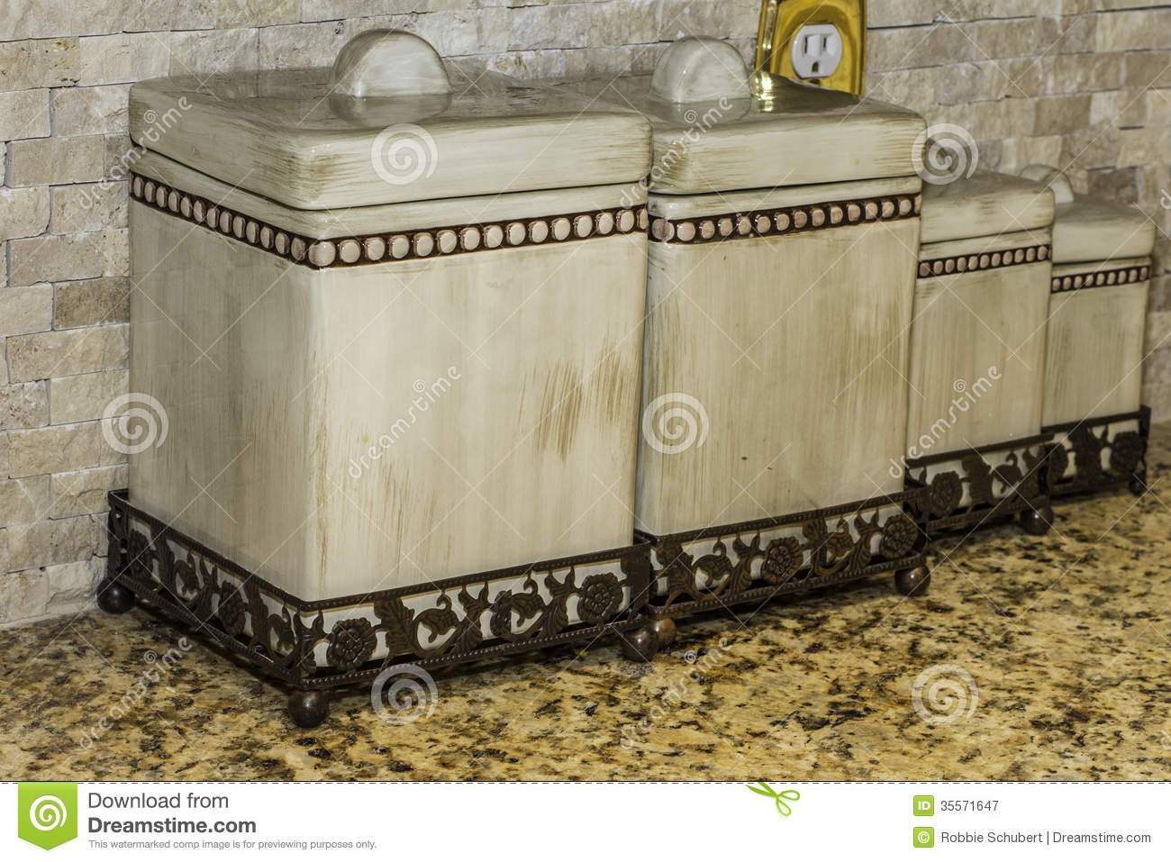 Kitchen Canisters stock image. Image of collection, canister ...