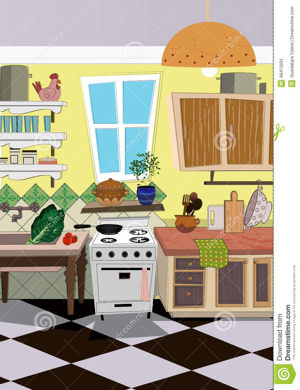 Kitchen Cartoon Style Background Stock Vector Illustration