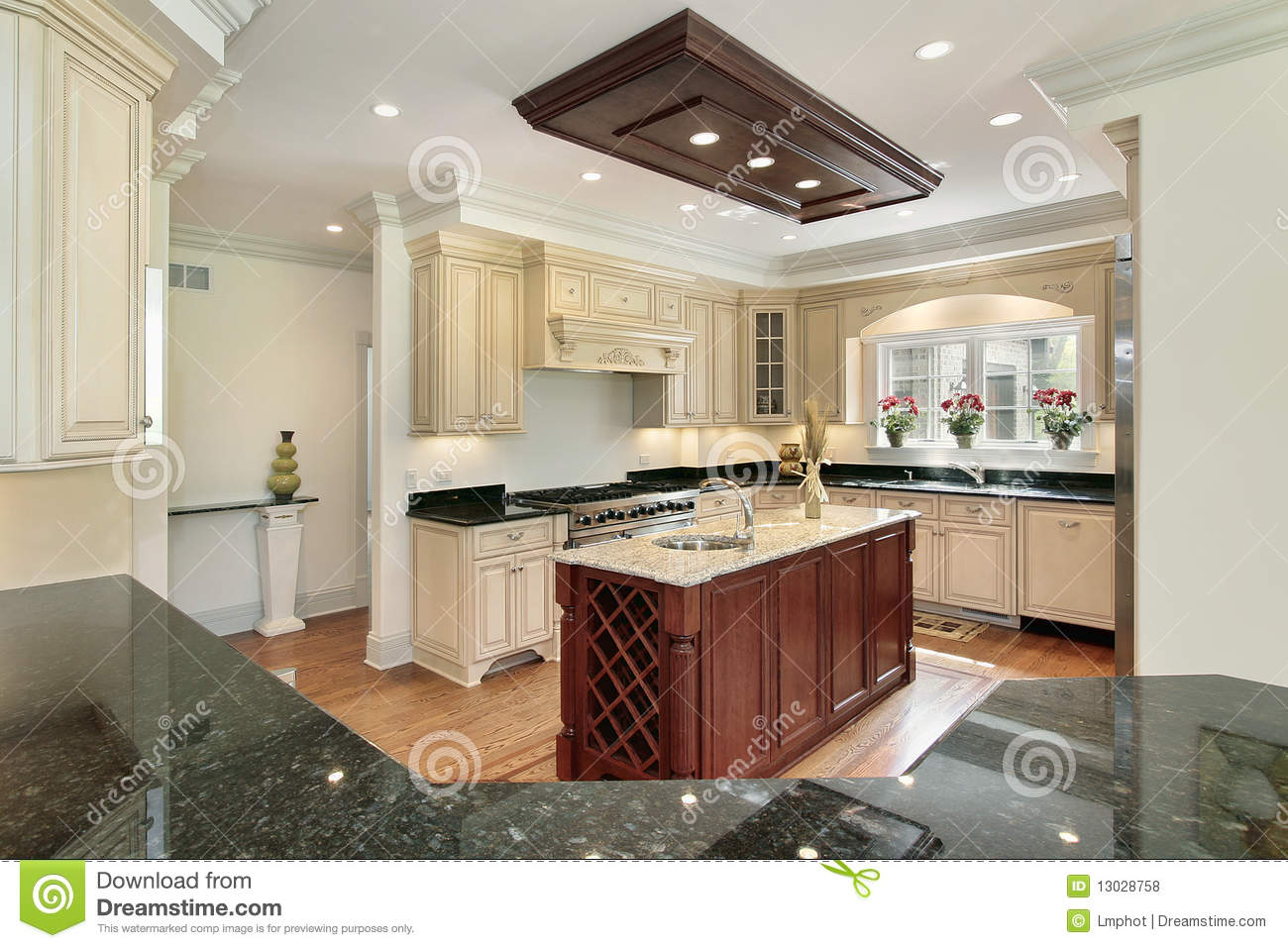 Kitchen with center island stock photo image of home for Kitchen with centre island