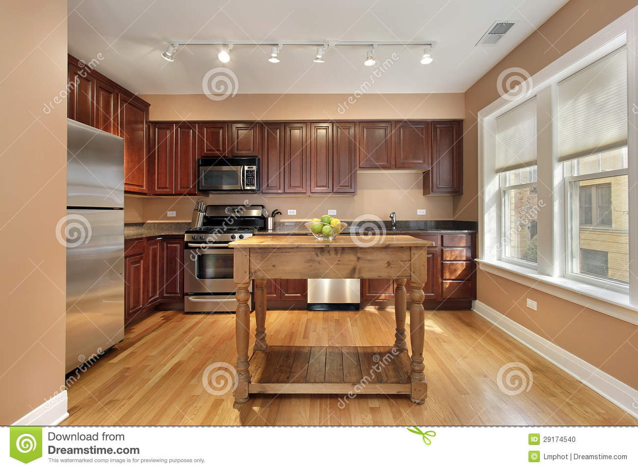 Kitchen with center island stock photo image 29174540 for Kitchen with centre island