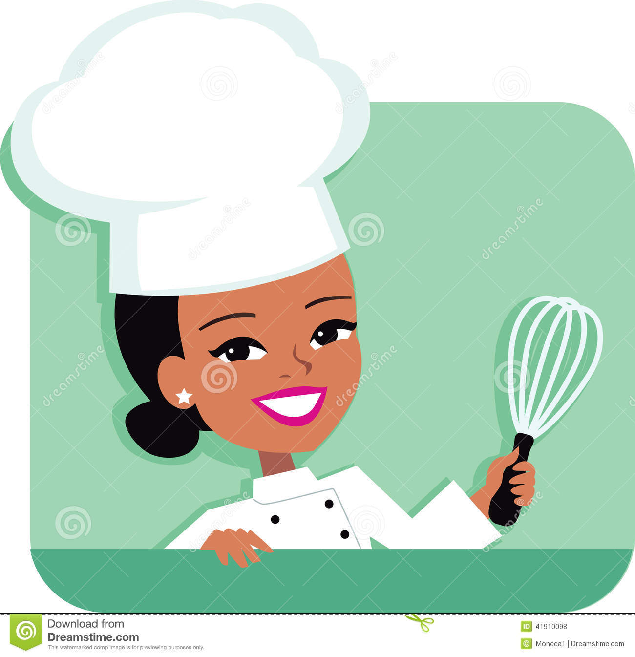 Kitchen Chef Cartoon Illustration Of Woman Holding Stock Vector ...