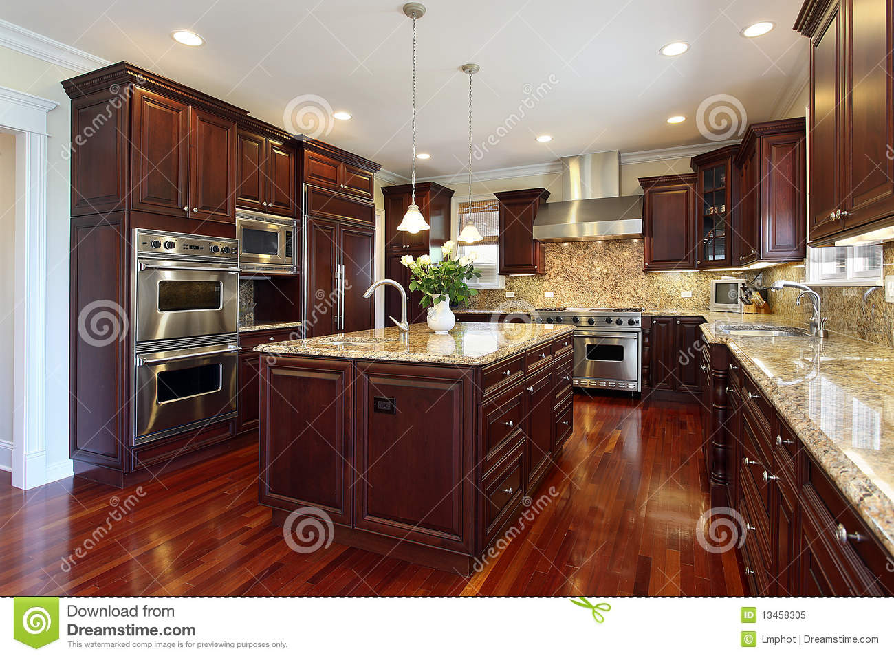kitchen with cherry wood cabinetry royalty free stock photo image 13458305. Black Bedroom Furniture Sets. Home Design Ideas