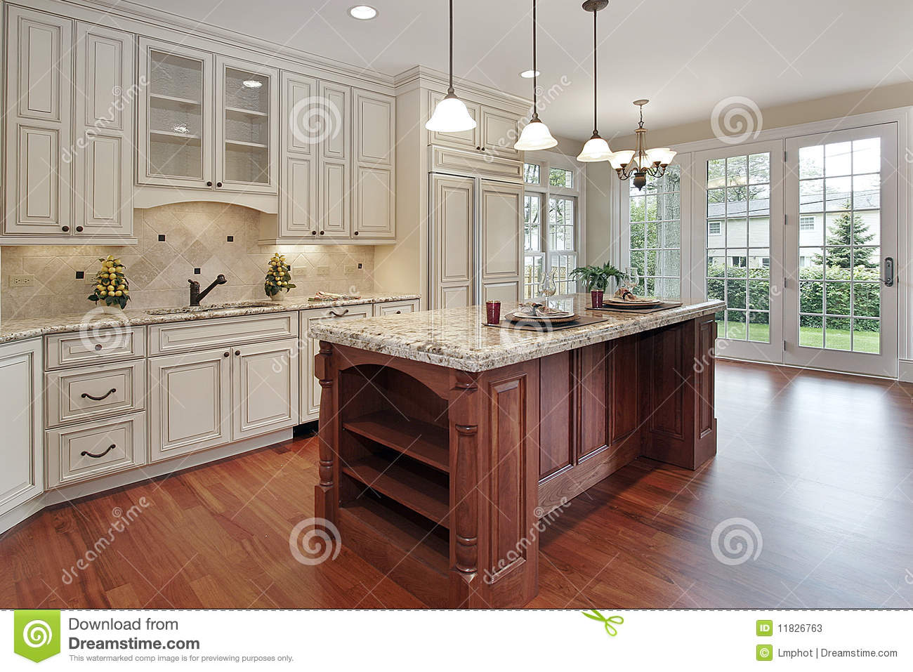 kitchen with cherry wood island stock photos image 11826763