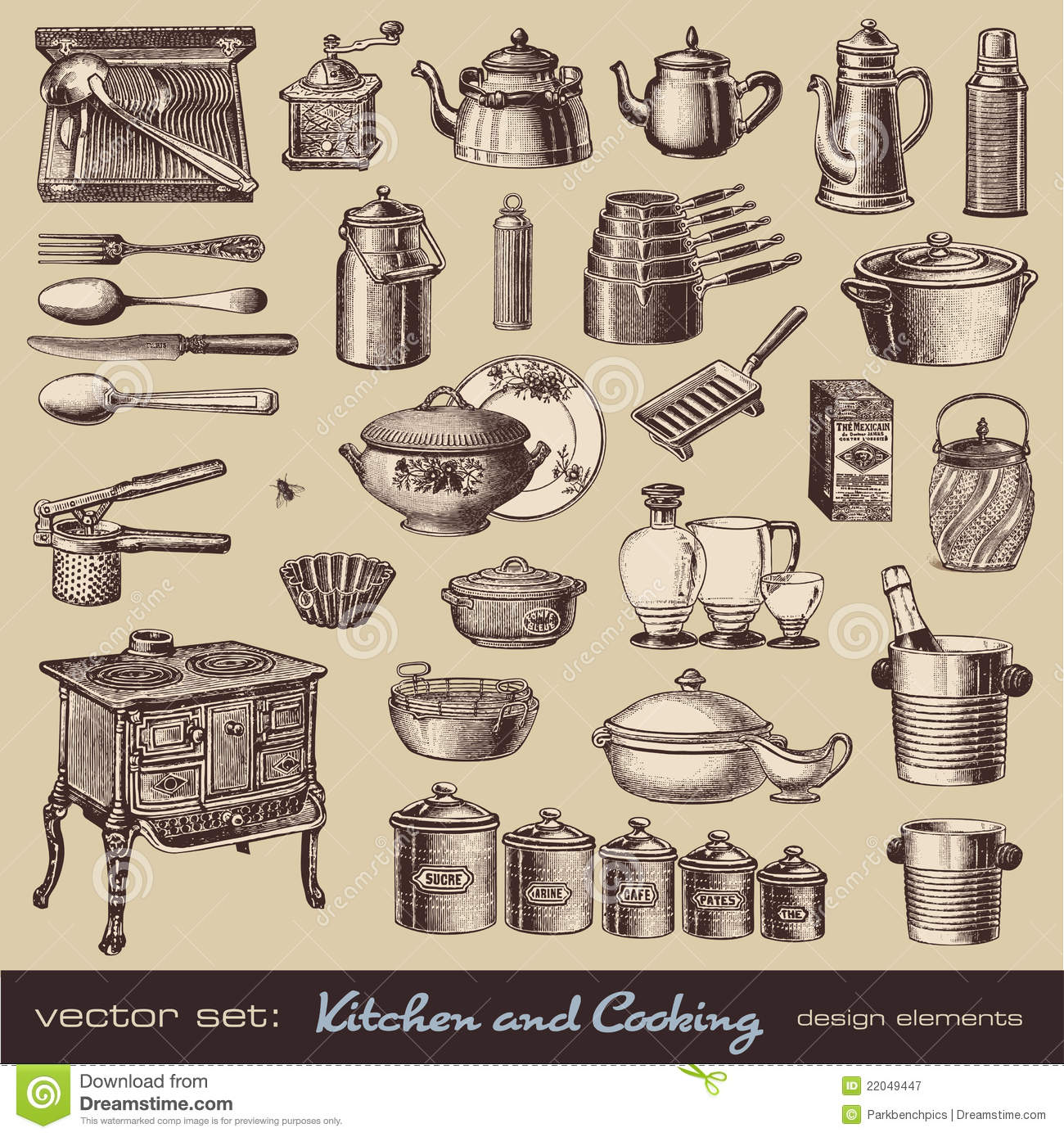 Kitchen And Cooking Design Elements Stock Vector