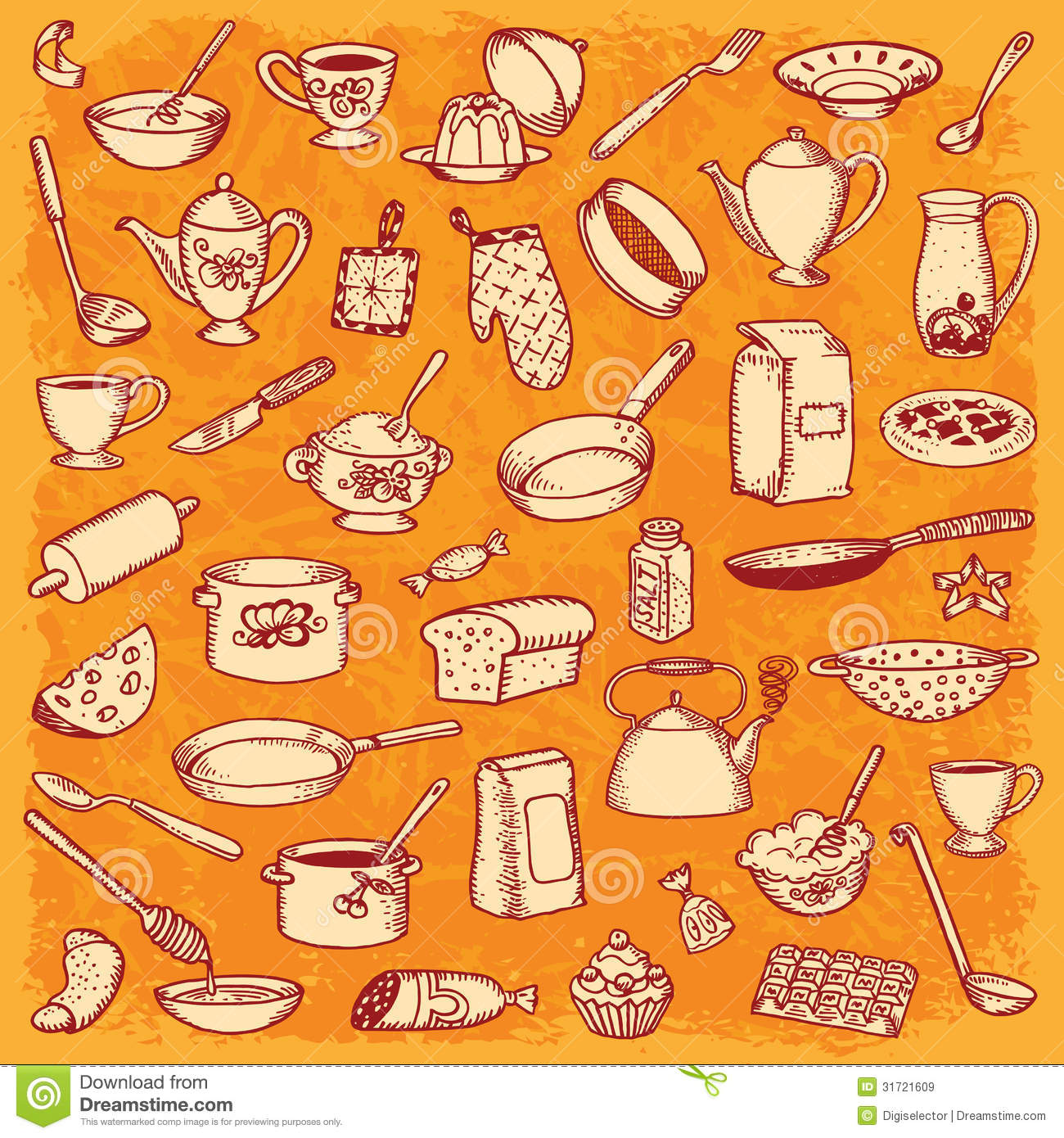 Kitchen and cooking doodle set stock vector image 31721609 for Kitchen set vector