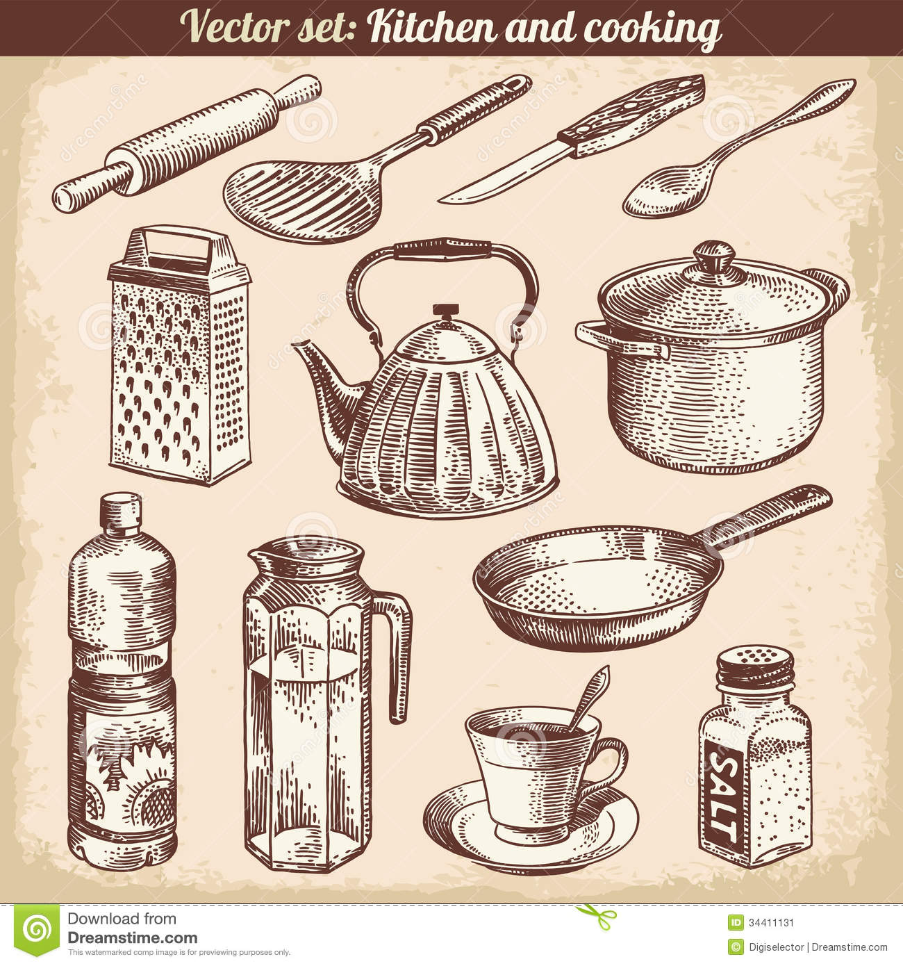 Retro Kitchen Illustration: Kitchen And Cooking Set Vector Stock Image