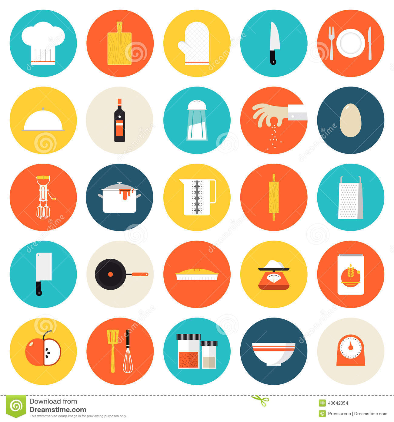 kitchen cooking tools and utensils flat icons stock vector