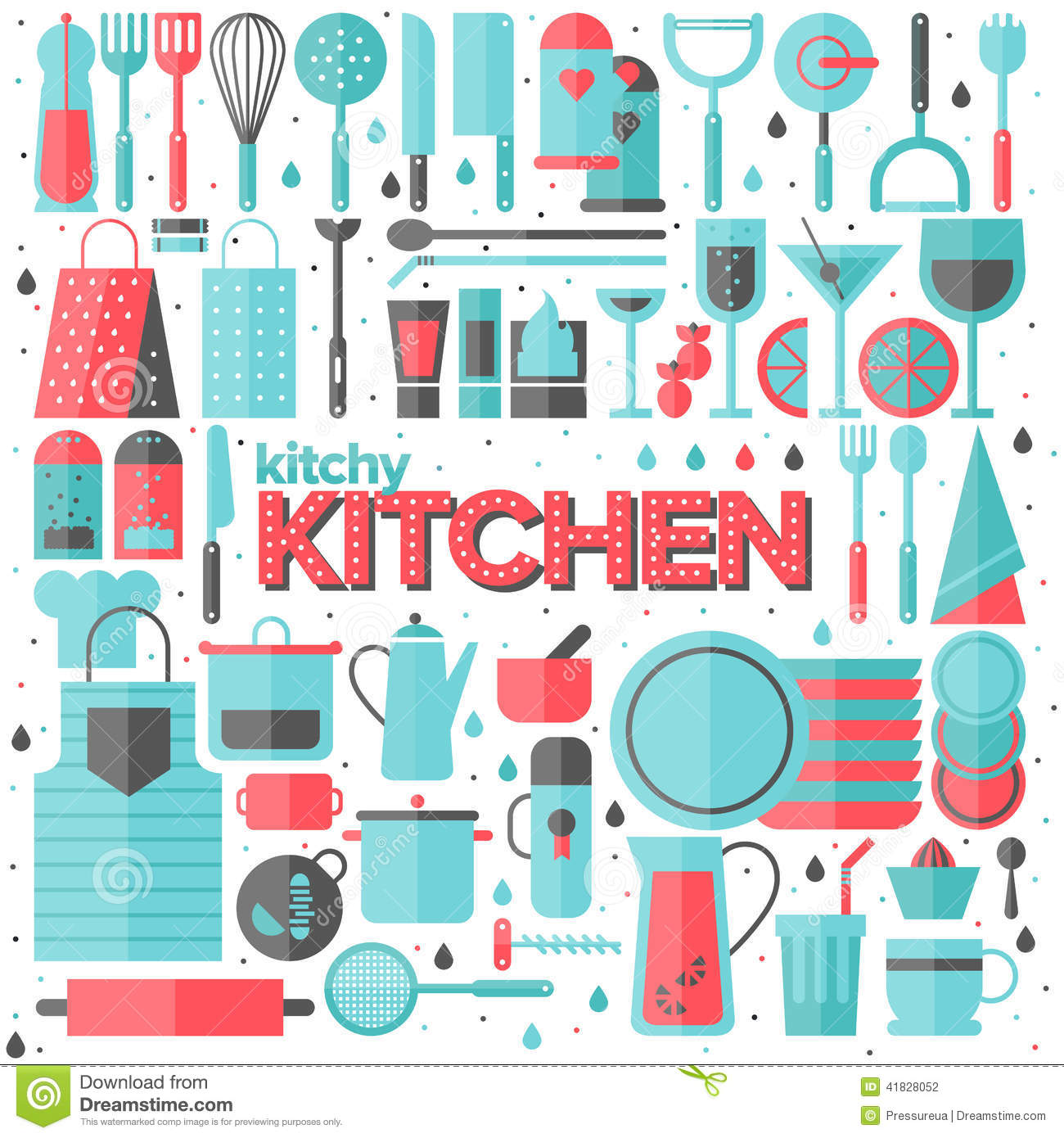 Kitchen And Cooking Utensils Flat Illustration Stock Vector ...