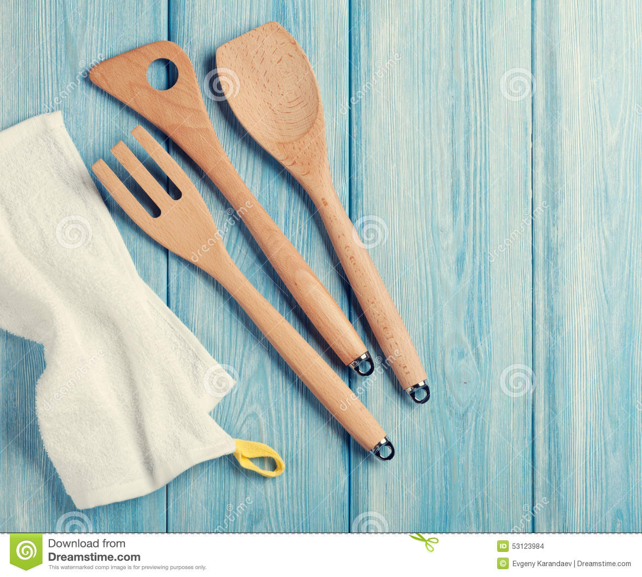 Kitchen Cooking Utensils Over Wooden Table Stock Photo - Image of ...