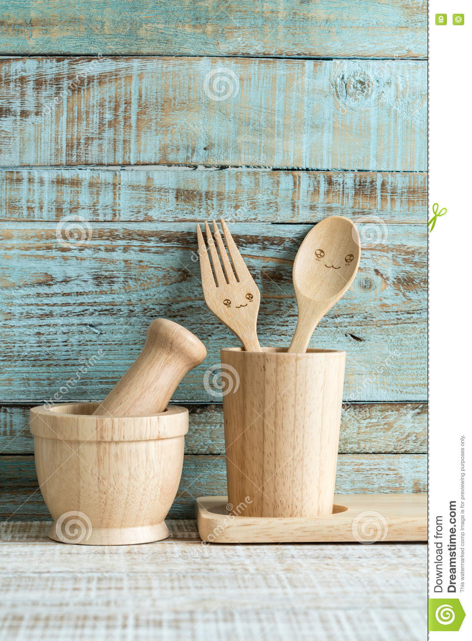 Kitchen Cooking Utensils In Storage On The Wood Background Stock ...