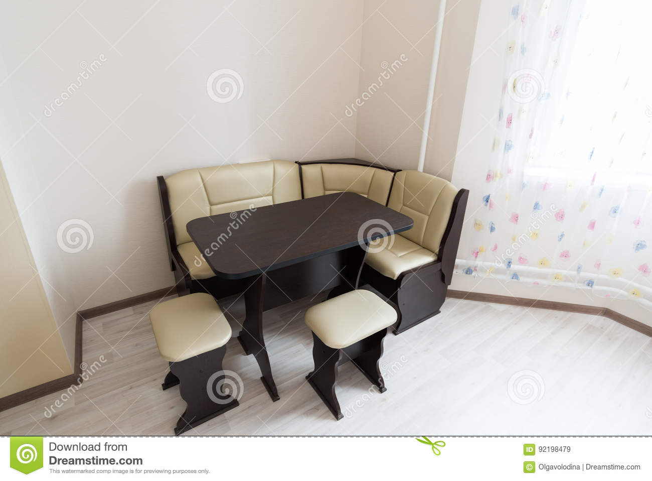 Kitchen Corner Sofa And Table In Interior Stock Image - Image of