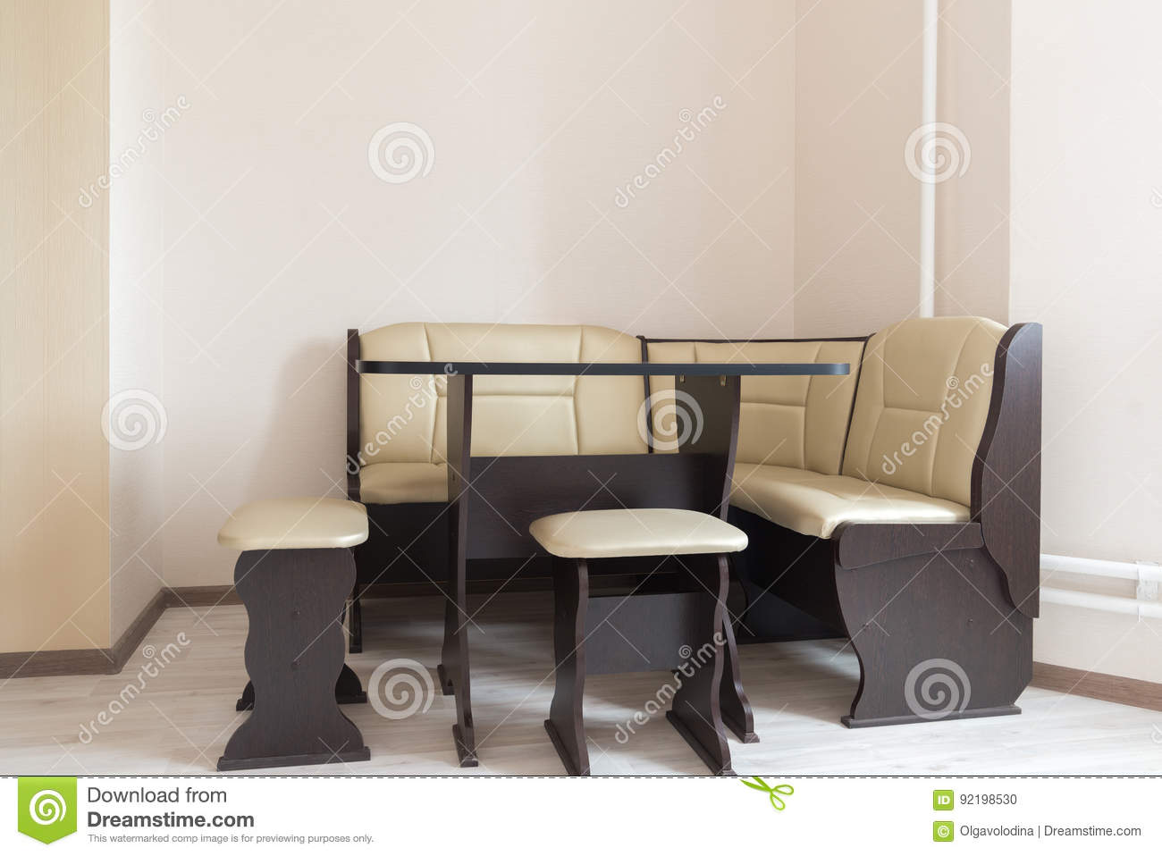 Kitchen Corner Sofa And Table In Interior Stock Photo - Image of
