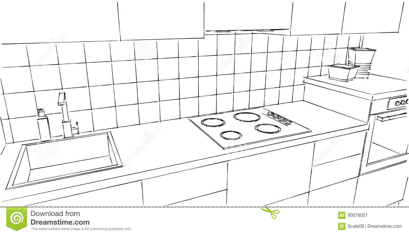 Kitchen Counter Close Up Black And White Stock Illustration Illustration Of Illustration