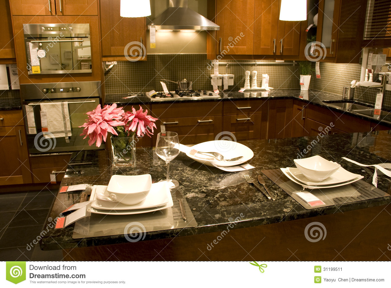 Kitchen counter setting home interiors stock image image for Kitchen setup for home