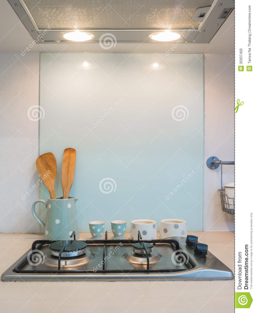 Kitchen Bar With Stove: Kitchen , Counter Of Stove Cooking. Stock Photo