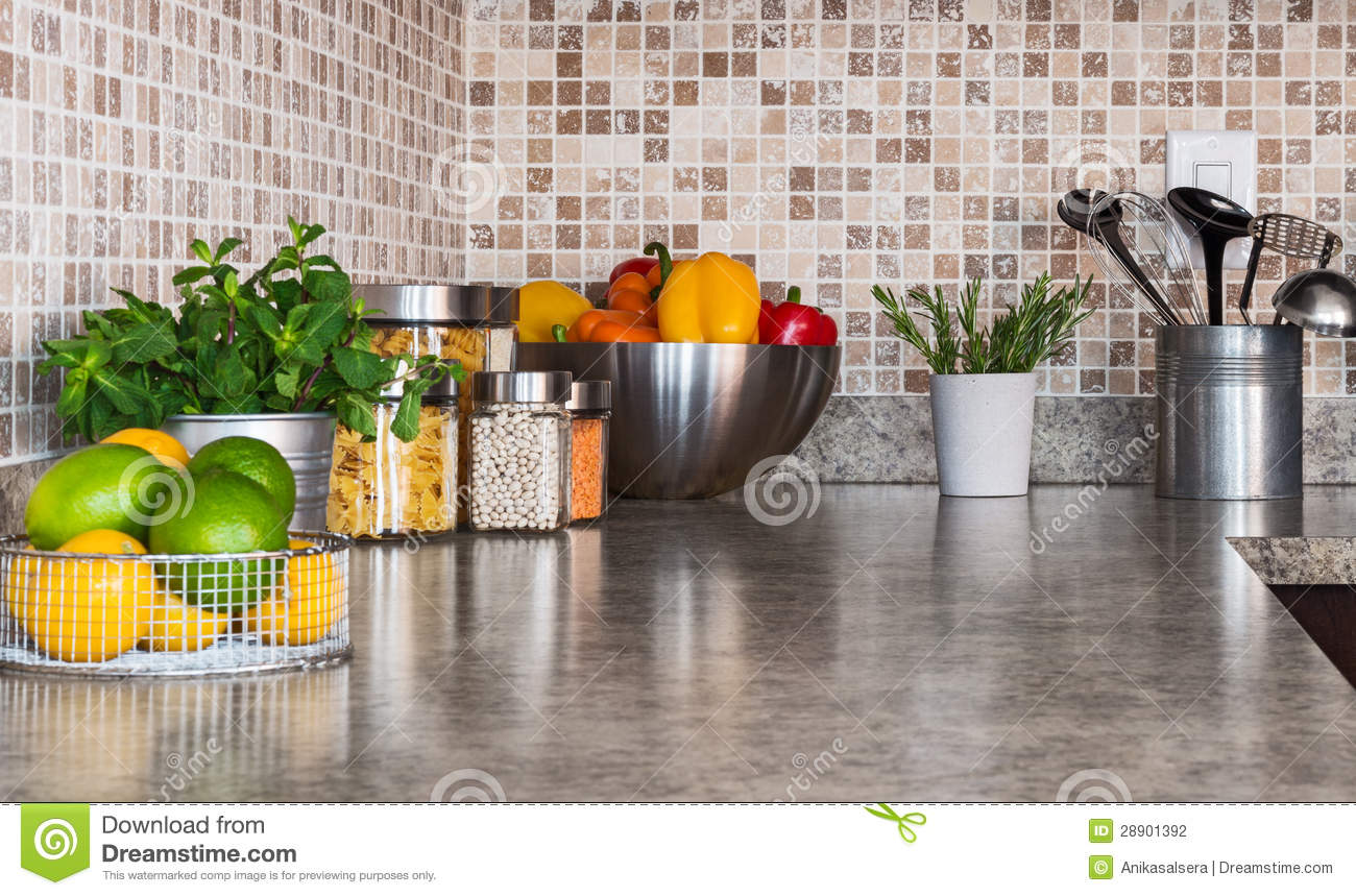 Kitchen Countertop With Food Ingredients And Herbs Stock
