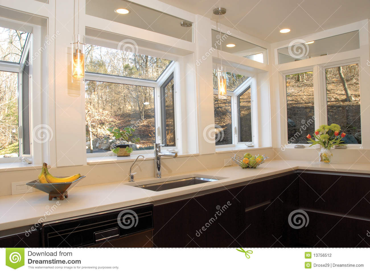 Kitchen Countertop With Many Windows Stock Photography