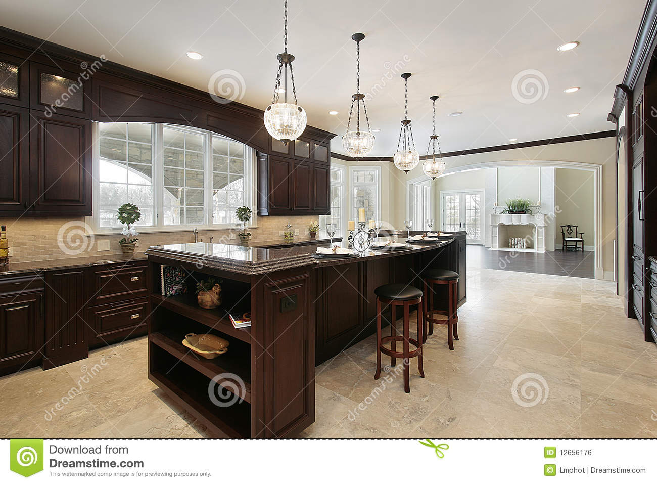 Kitchen With Dark Wood Cabinetry Stock Photo Image 12656176