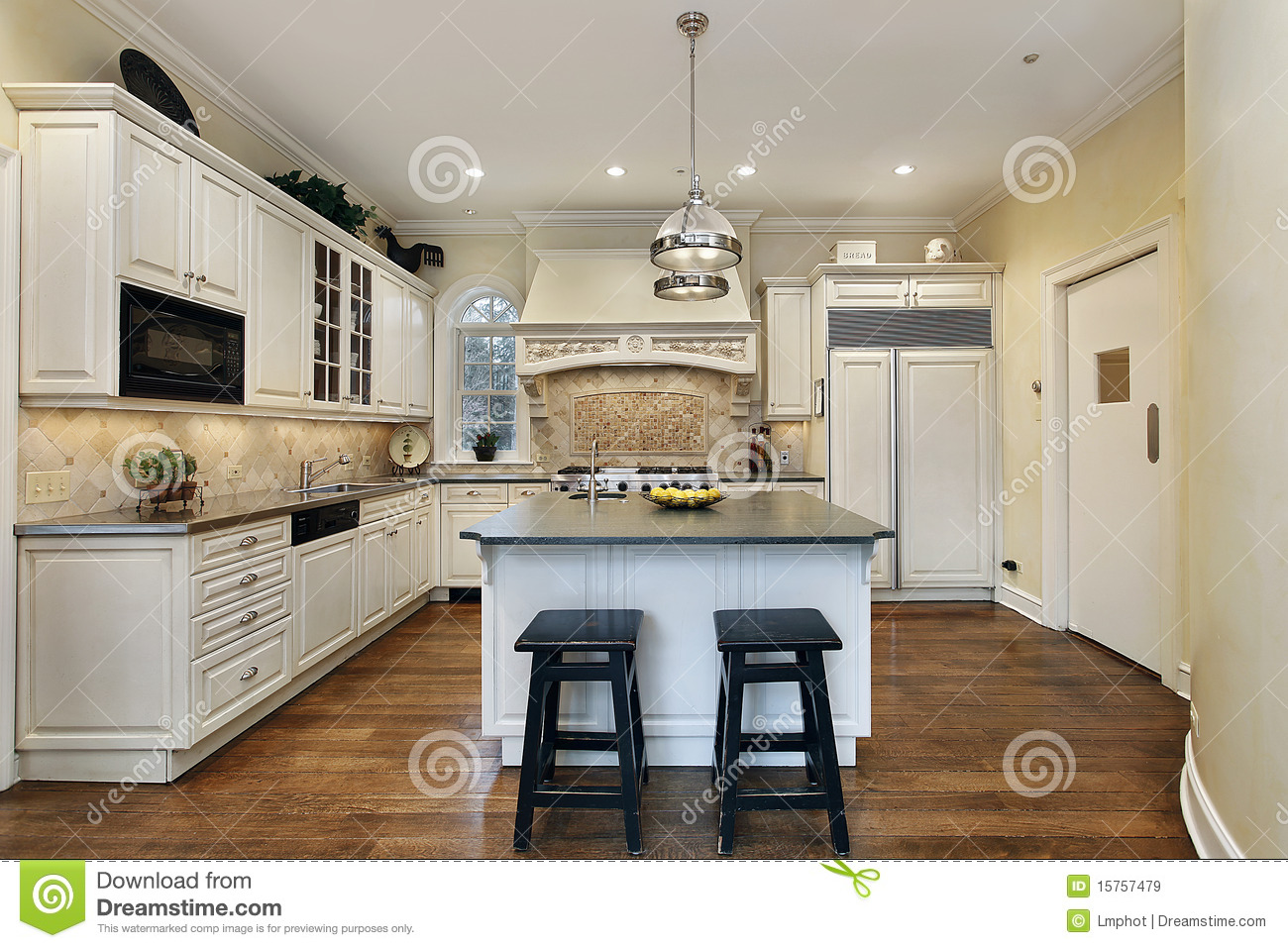 kitchen with decorative oven backsplash royalty free stock