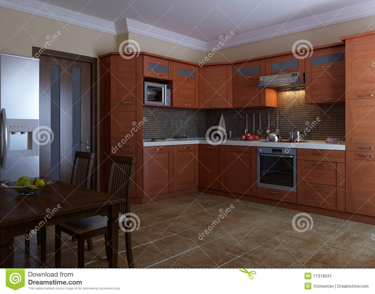 Cuisine En Bois Moderne kitchen design stock image. image of gray, house, light