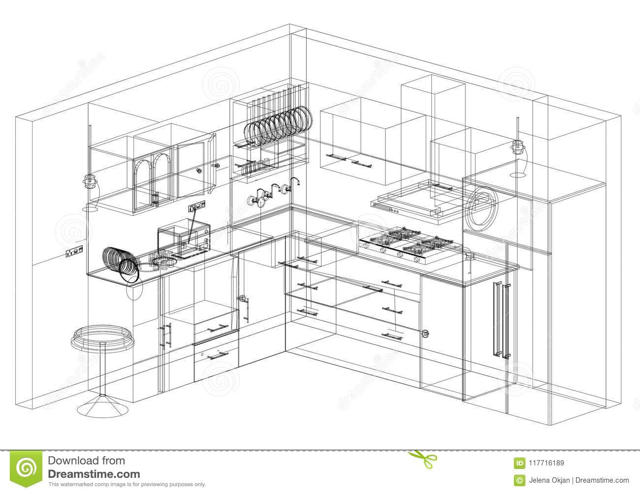 Kitchen design blueprint isolated stock illustration download comp malvernweather Images