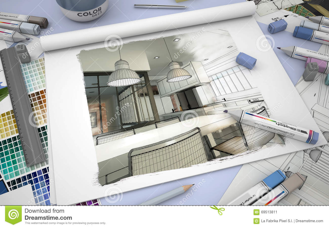 Kitchen Design Stock Illustration. Image Of Illustration