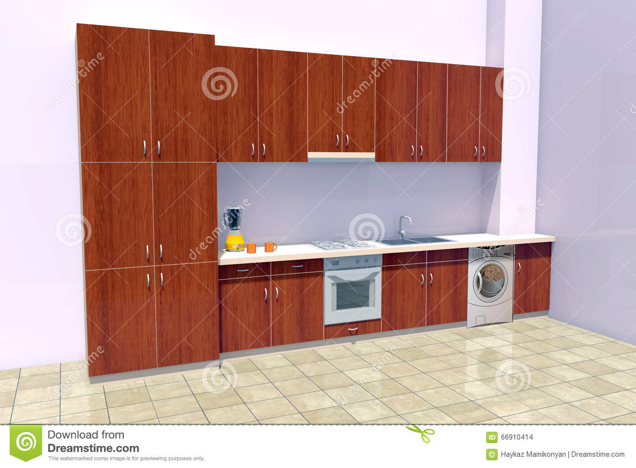 Kitchen Design Stock Illustration Image 66910414