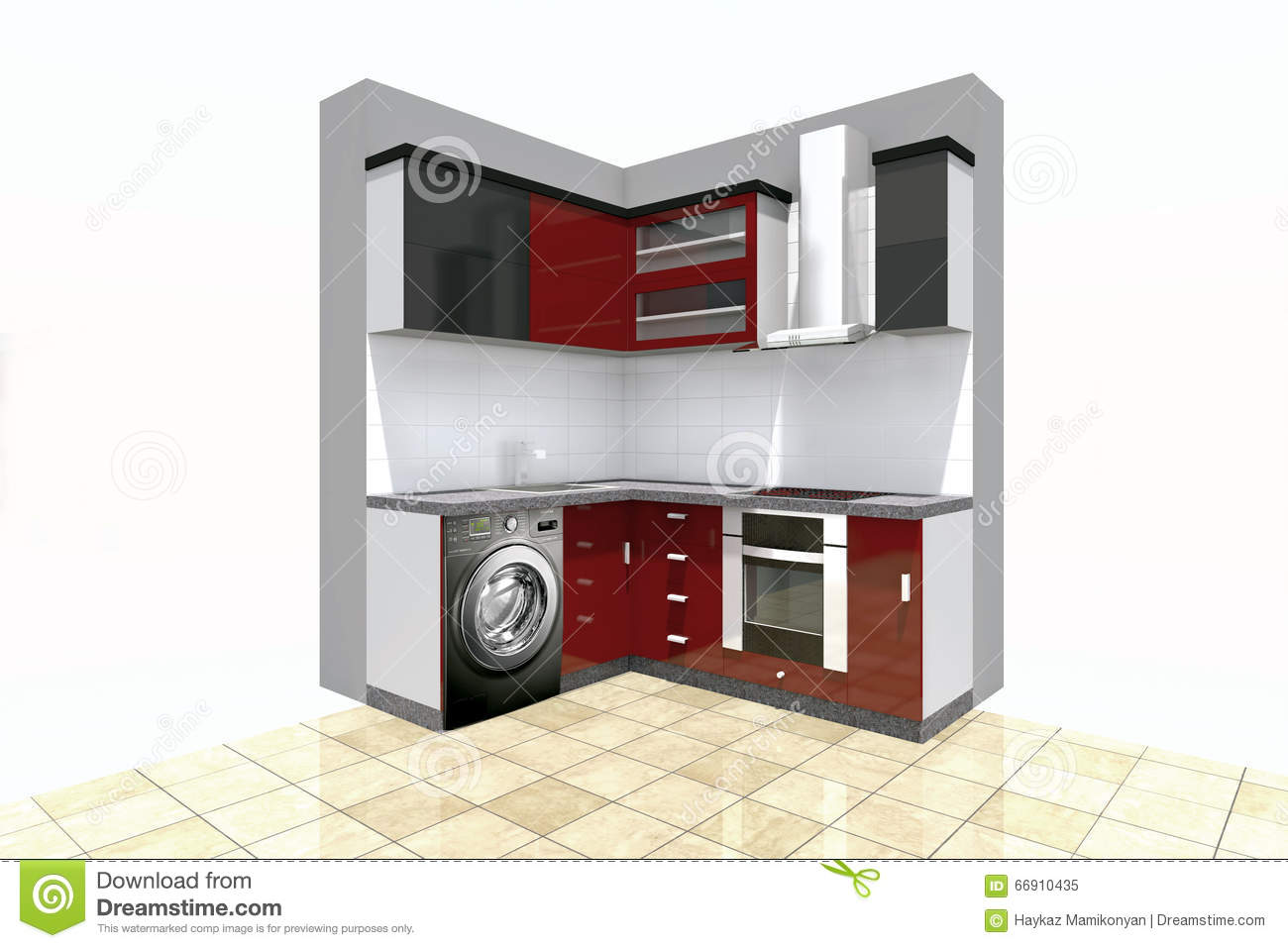 Kitchen design stock illustration. Illustration of interior - 66910435