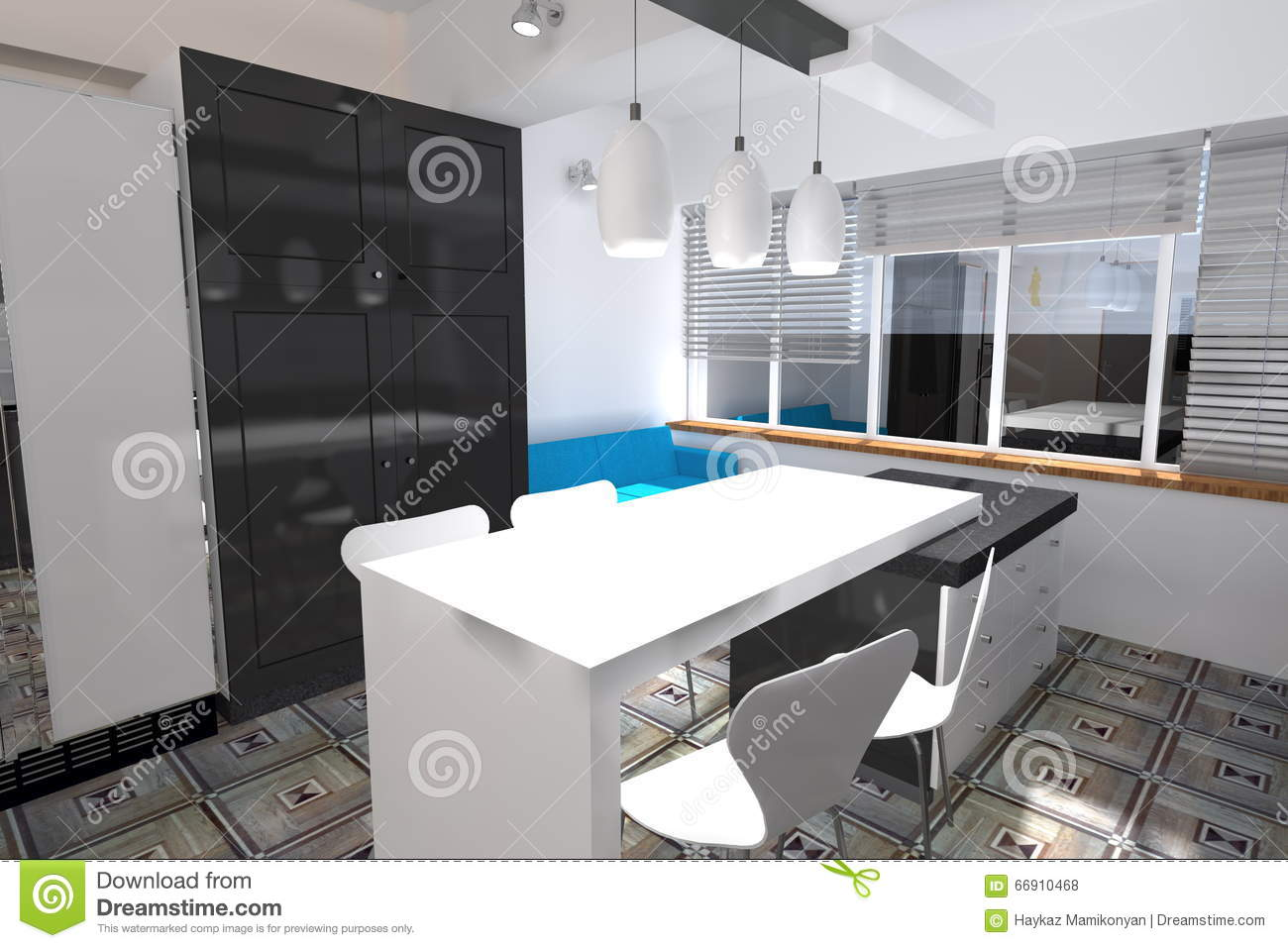 Kitchen design stock illustration. Illustration of adobe - 66910468