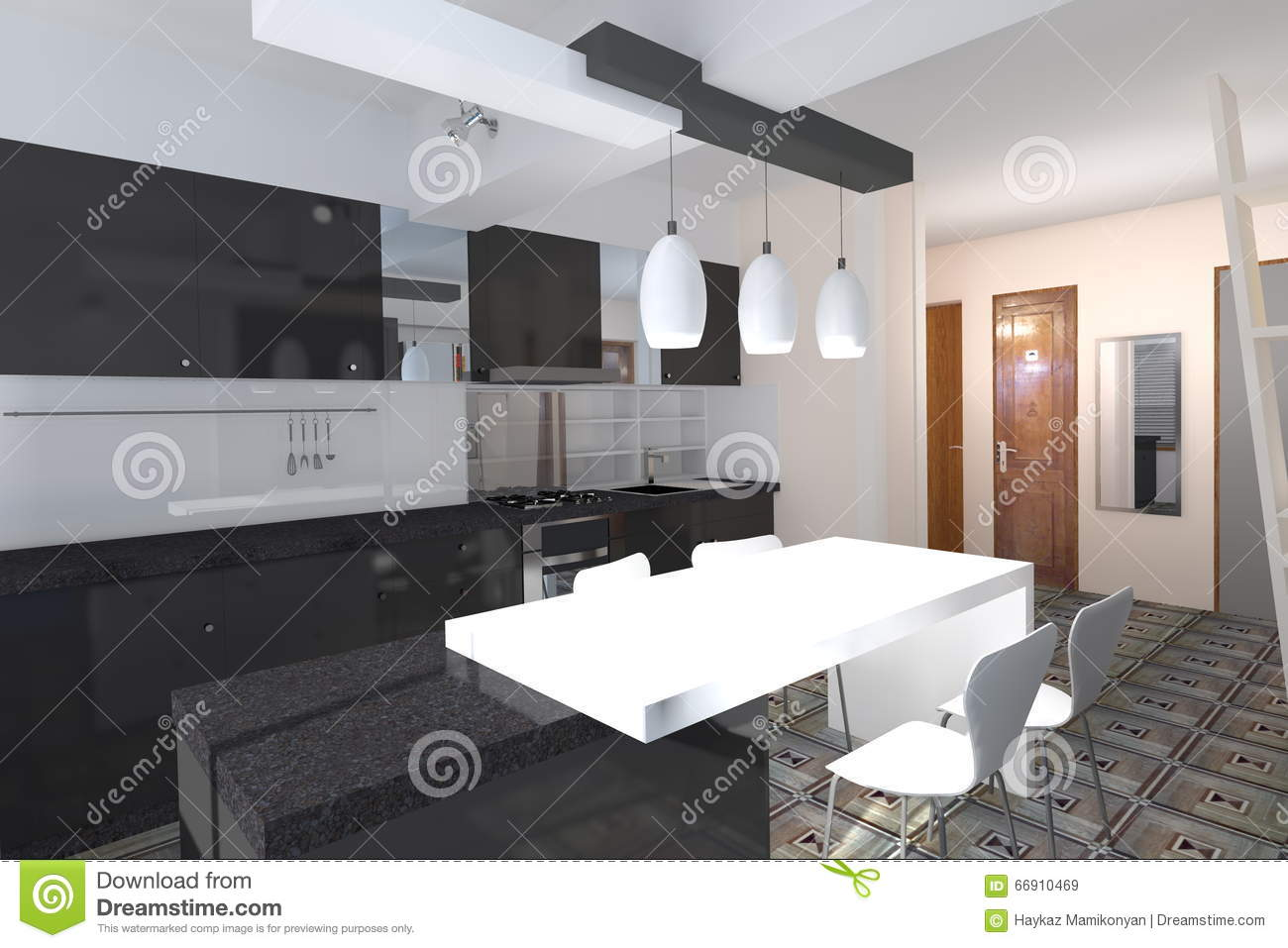 Kitchen design stock illustration  Illustration of