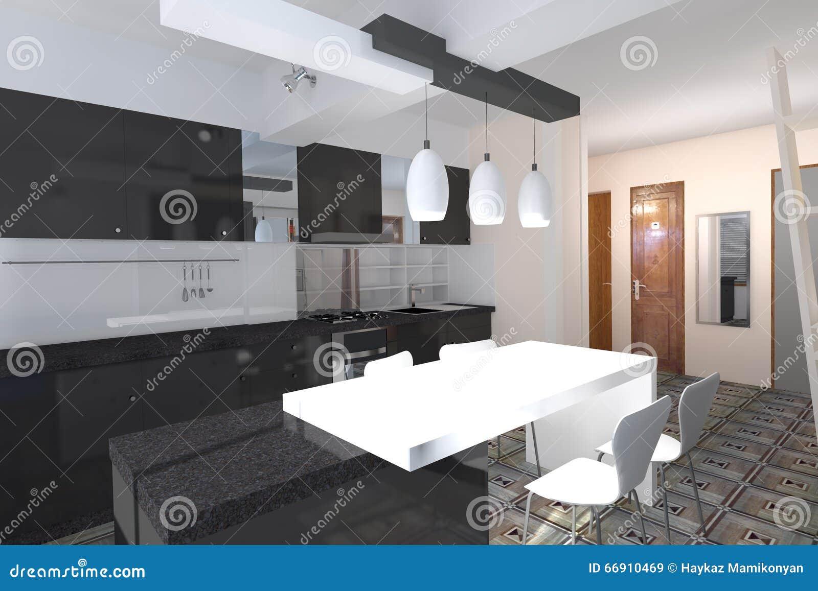 Kitchen Design Stock Illustration Image 66910469