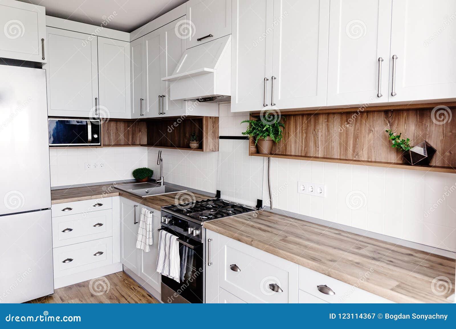 Kitchen Design In Modern Scandinavian Style. Stylish Light Grey ...