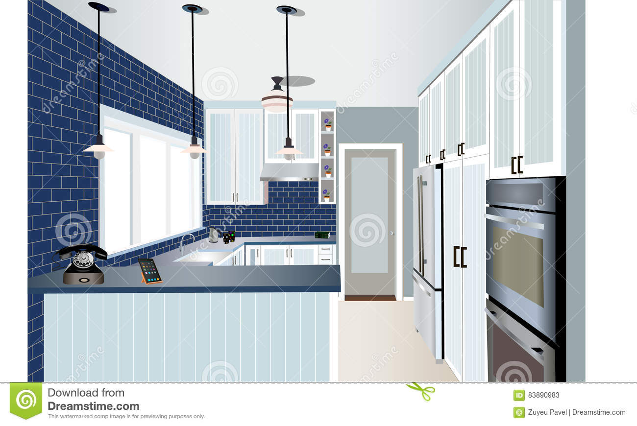 Kitchen Design Stock Vector Image 83890983