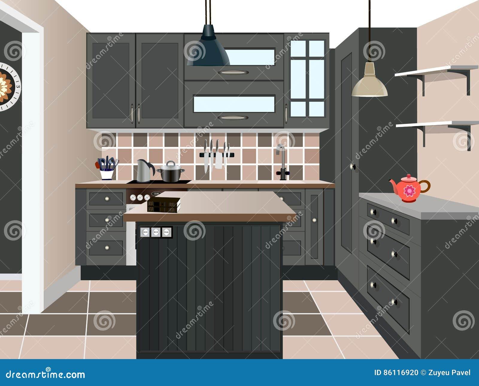 Kitchen Old Design ,kitchen Icon,interior Room, Symbol Furniture, Vector  Illustration